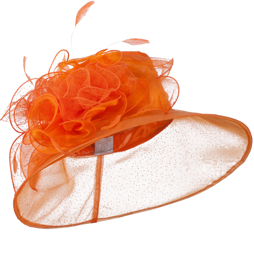 Glitter Bow Accent Organza Hat - Orange - Hats and Caps Online Shop - Hip Head Gear