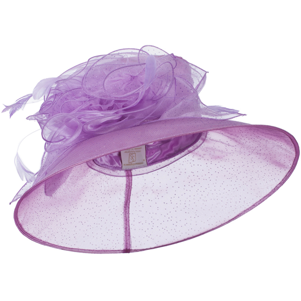 Glitter Bow Accent Organza Hat - Lavender - Hats and Caps Online Shop - Hip Head Gear