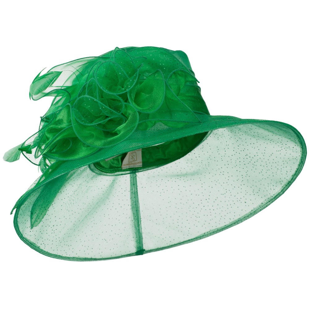 Glitter Bow Accent Organza Hat - Green - Hats and Caps Online Shop - Hip Head Gear