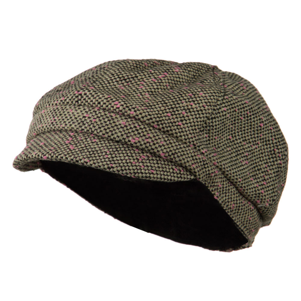 Gaby Covered Button Cabbie Cap - Pink Black - Hats and Caps Online Shop - Hip Head Gear