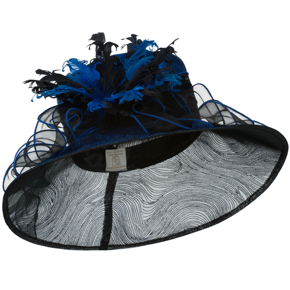 Glitter Curled Feathers Organza Hat - Blue - Hats and Caps Online Shop - Hip Head Gear
