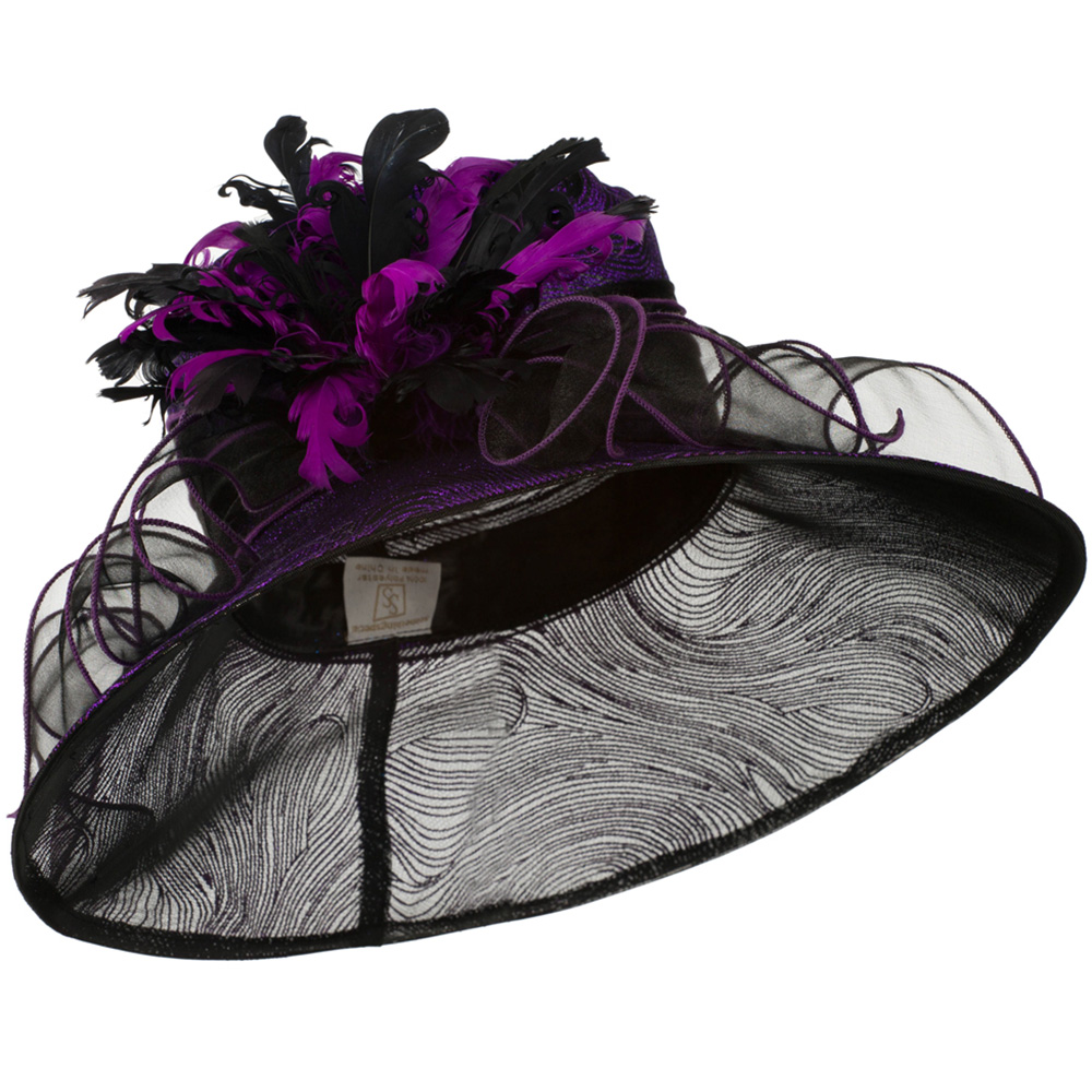 Glitter Curled Feathers Organza Hat - Purple - Hats and Caps Online Shop - Hip Head Gear