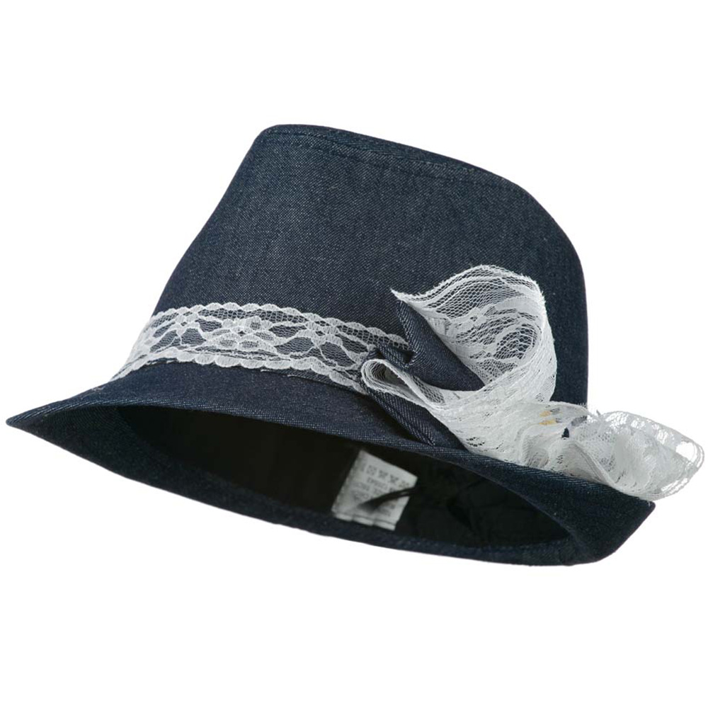 Girl's Denim Fedora with Lace Band - Denim - Hats and Caps Online Shop - Hip Head Gear