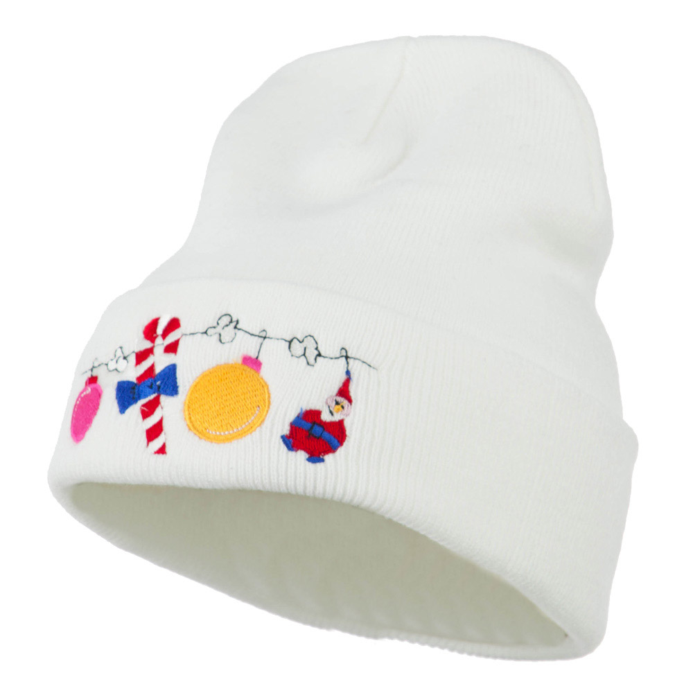 Christmas Garland Elf Candy Embroidered Beanie - White - Hats and Caps Online Shop - Hip Head Gear