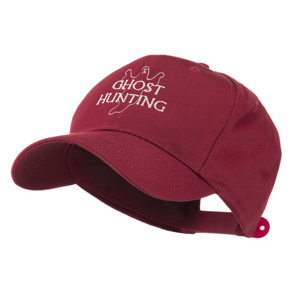 Ghost Outline with Hunting Embroidered Cap - Maroon - Hats and Caps Online Shop - Hip Head Gear