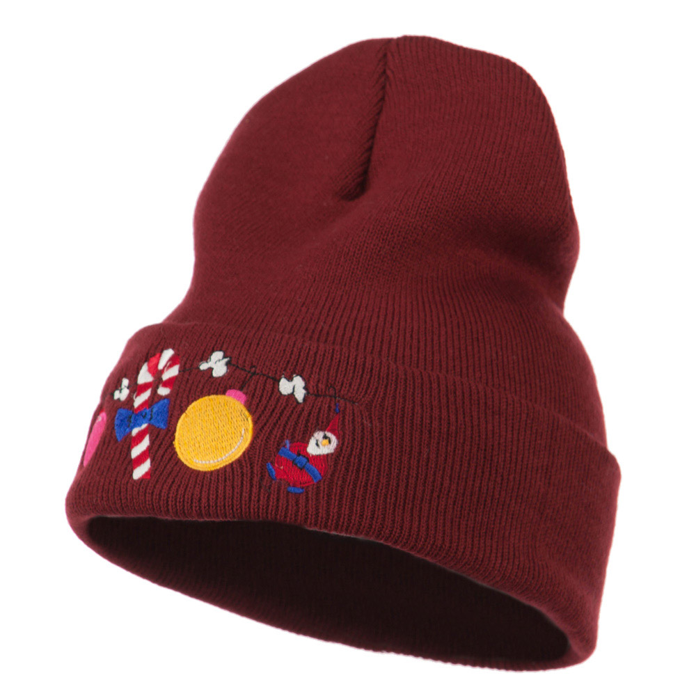 Christmas Garland Elf Candy Embroidered Beanie - Maroon - Hats and Caps Online Shop - Hip Head Gear
