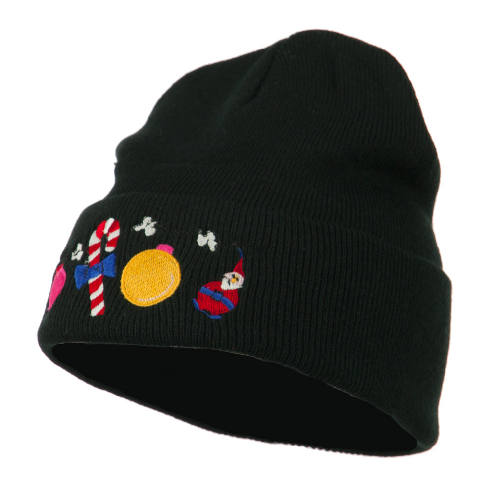 Christmas Garland Elf Candy Embroidered Beanie - Black - Hats and Caps Online Shop - Hip Head Gear
