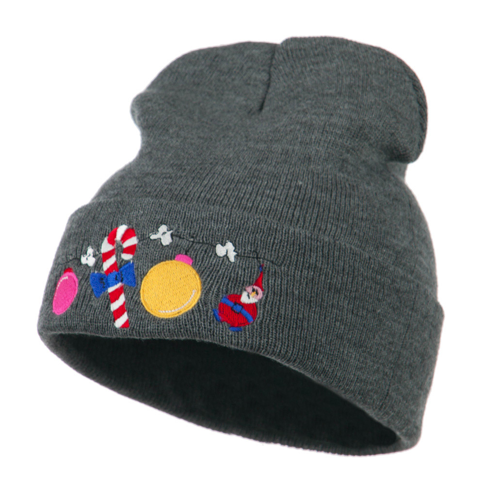 Christmas Garland Elf Candy Embroidered Beanie - Grey - Hats and Caps Online Shop - Hip Head Gear