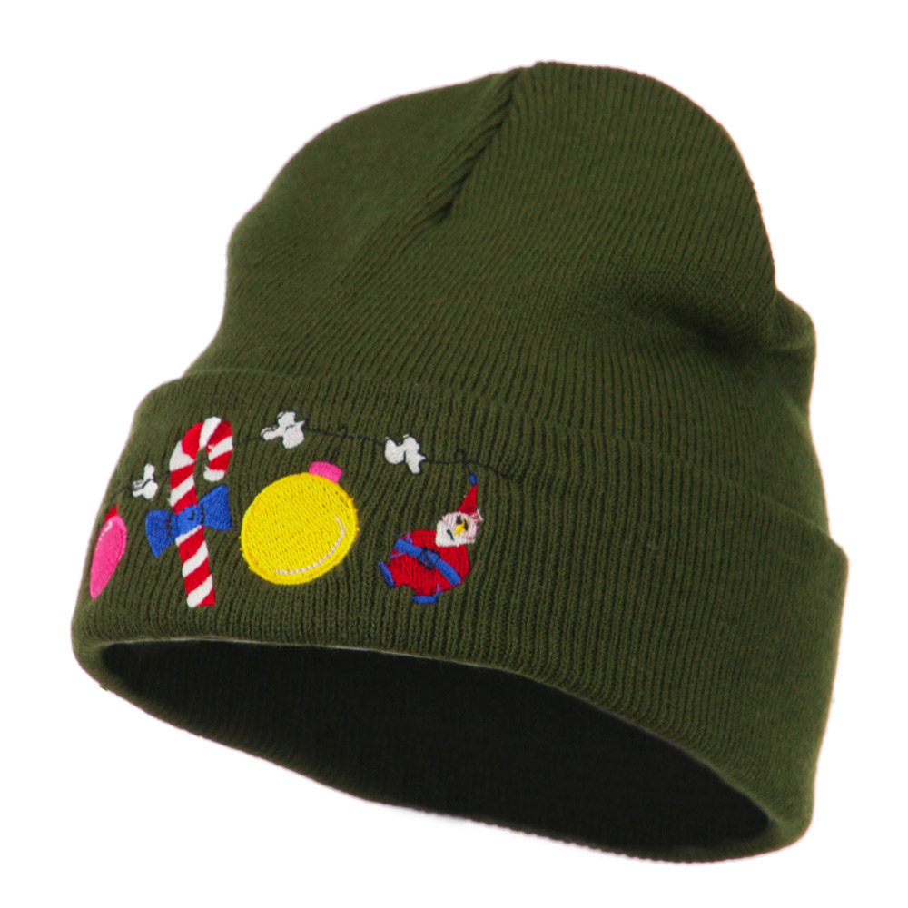 Christmas Garland Elf Candy Embroidered Beanie - Olive - Hats and Caps Online Shop - Hip Head Gear