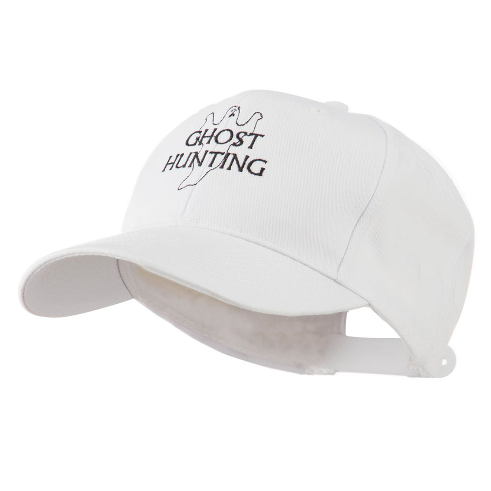 Ghost Outline with Hunting Embroidered Cap - White - Hats and Caps Online Shop - Hip Head Gear