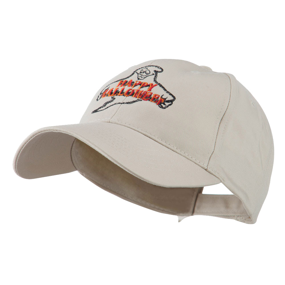Goofy Ghost Happy Halloween Embroidered Cap - Stone - Hats and Caps Online Shop - Hip Head Gear