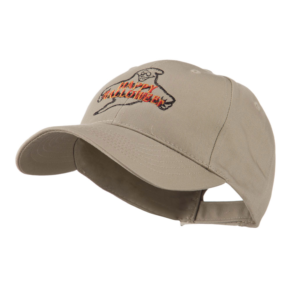 Goofy Ghost Happy Halloween Embroidered Cap - Khaki - Hats and Caps Online Shop - Hip Head Gear