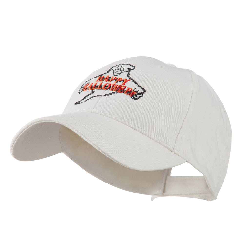 Goofy Ghost Happy Halloween Embroidered Cap - White - Hats and Caps Online Shop - Hip Head Gear
