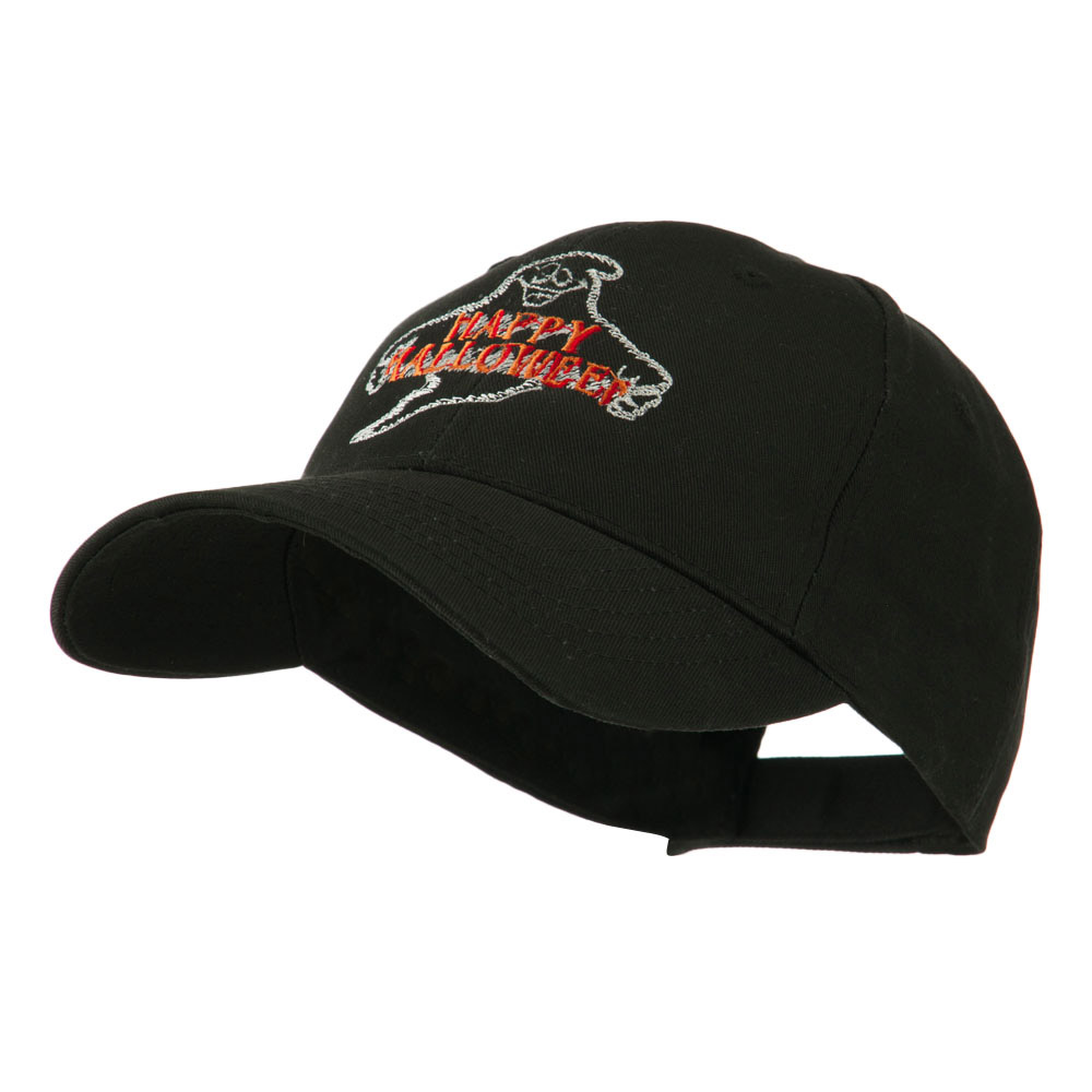 Goofy Ghost Happy Halloween Embroidered Cap - Black - Hats and Caps Online Shop - Hip Head Gear