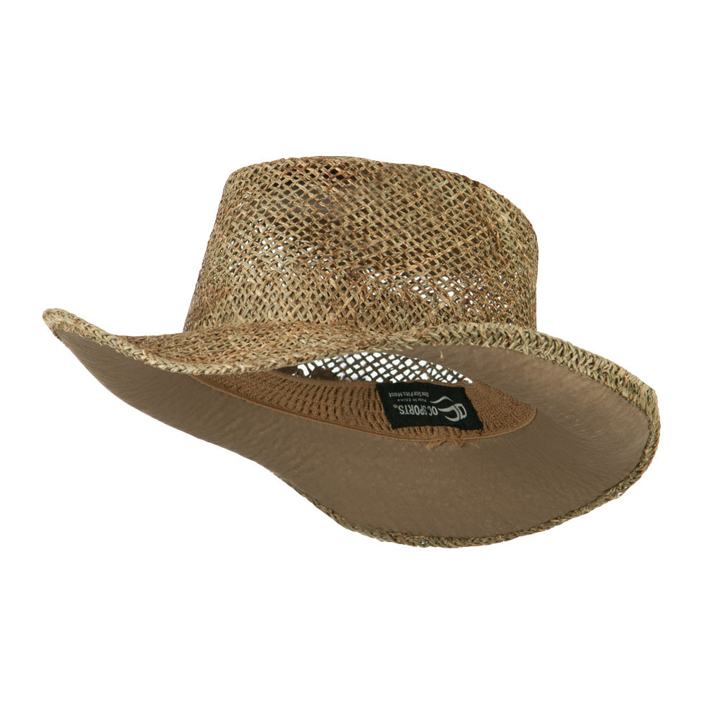 Sea Grass Straw Gambler Hat - Natural - Hats and Caps Online Shop - Hip Head Gear