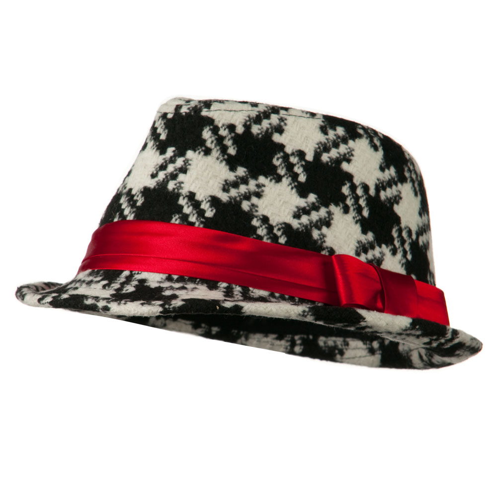 Girls Acrylic Blend Houndstooth Fedora - Black White - Hats and Caps Online Shop - Hip Head Gear