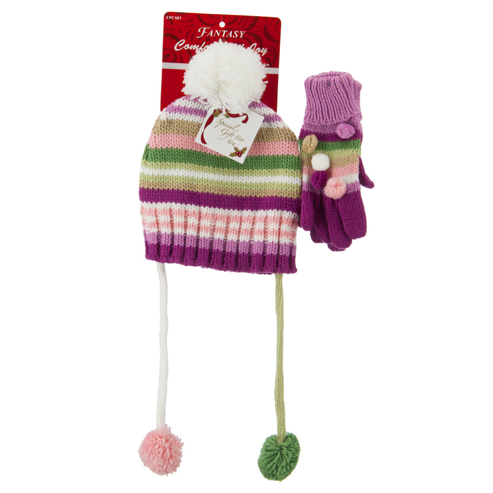 Girl's Hat and Glove Set with Pom Poms - Purple