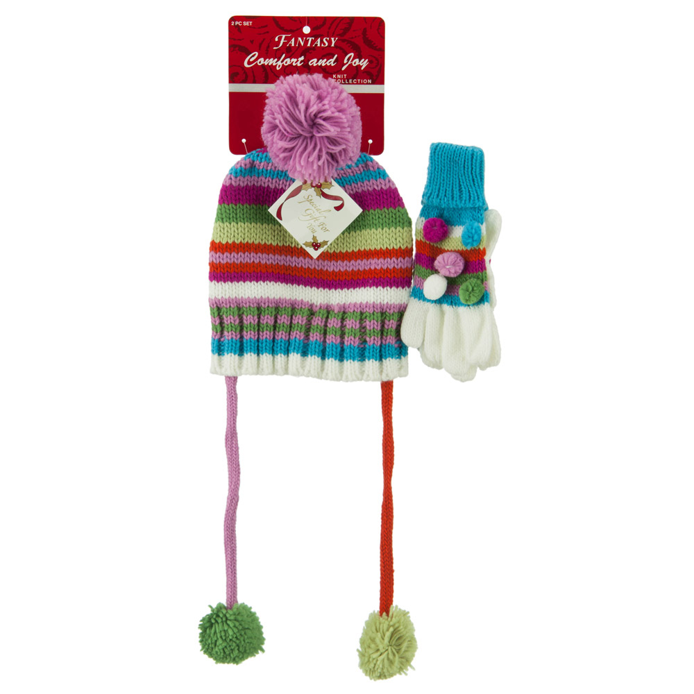 Girl's Hat and Glove Set with Pom Poms - Green