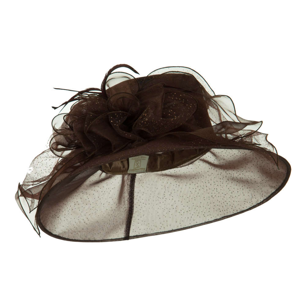 Glitter Big Bow Organza Hat - Brown - Hats and Caps Online Shop - Hip Head Gear