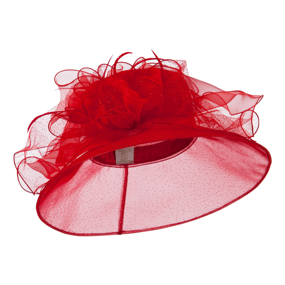 Glitter Big Bow Organza Hat - Red - Hats and Caps Online Shop - Hip Head Gear