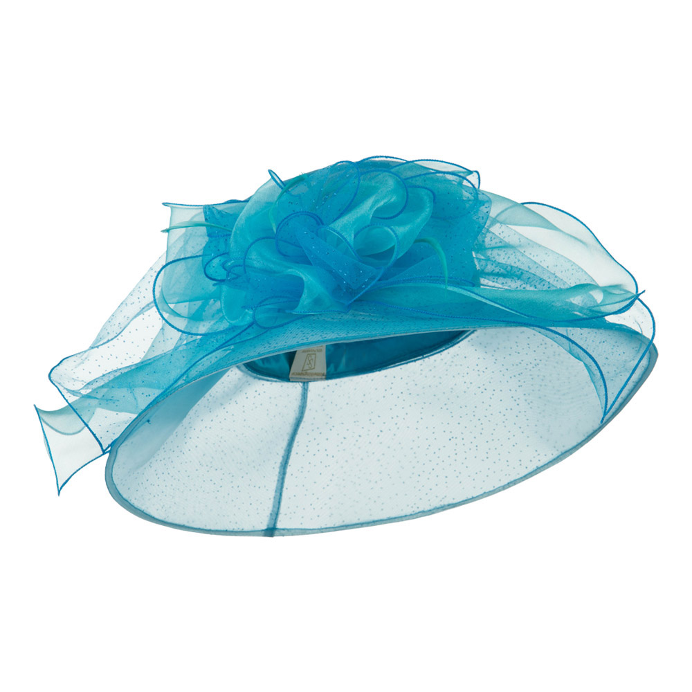 Glitter Big Bow Organza Hat - Turquoise - Hats and Caps Online Shop - Hip Head Gear