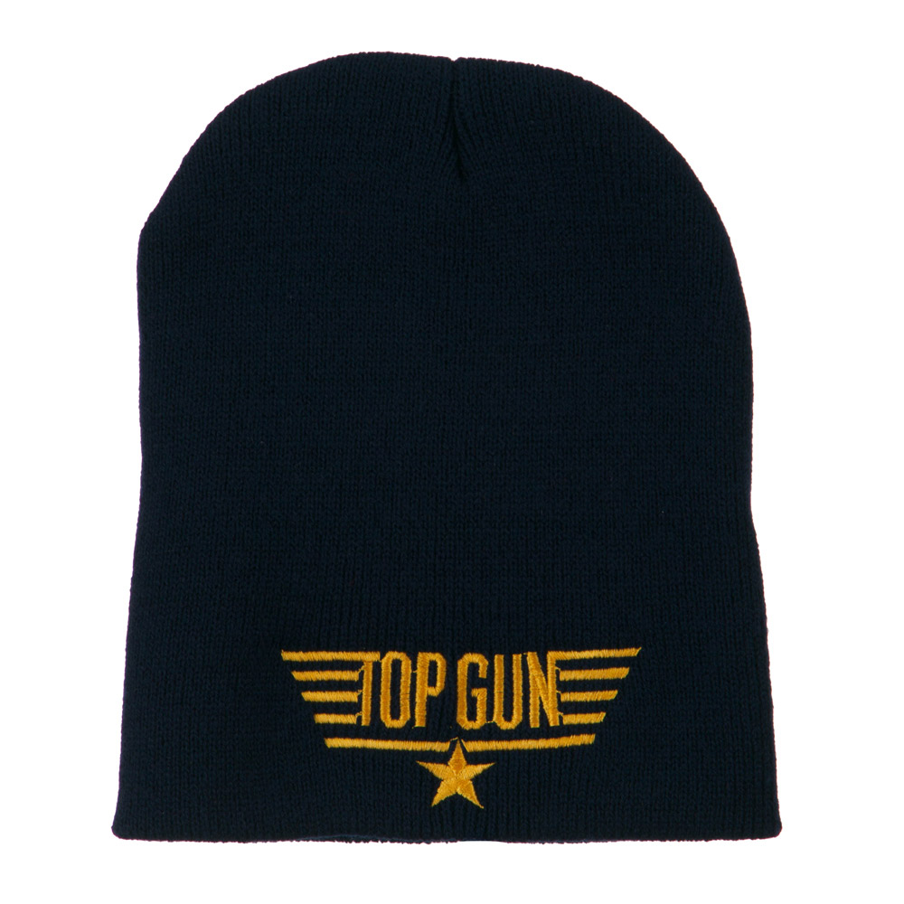 Top Gun Logo Embroidered Short Beanie - Navy