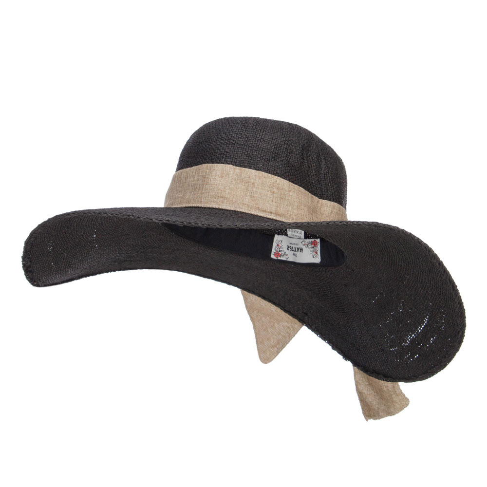 Big Ribbon Band Extra Brim Hat - Black