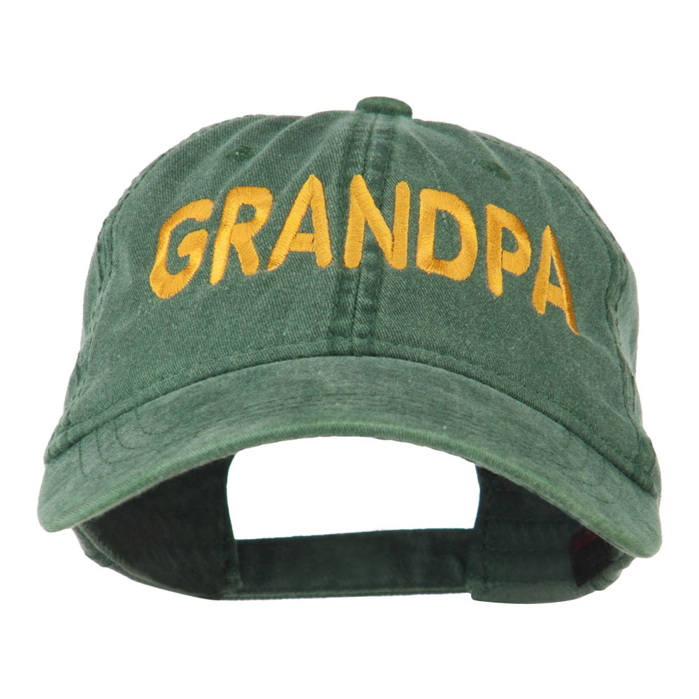 Wording of Grandpa Embroidered Washed Cap - Dark Green - Hats and Caps Online Shop - Hip Head Gear