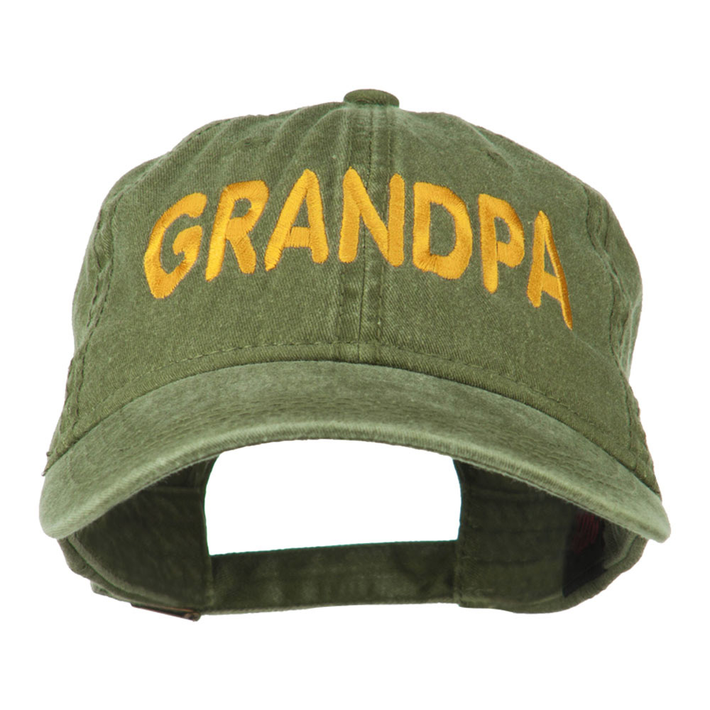 Wording of Grandpa Embroidered Washed Cap - Olive Green - Hats and Caps Online Shop - Hip Head Gear
