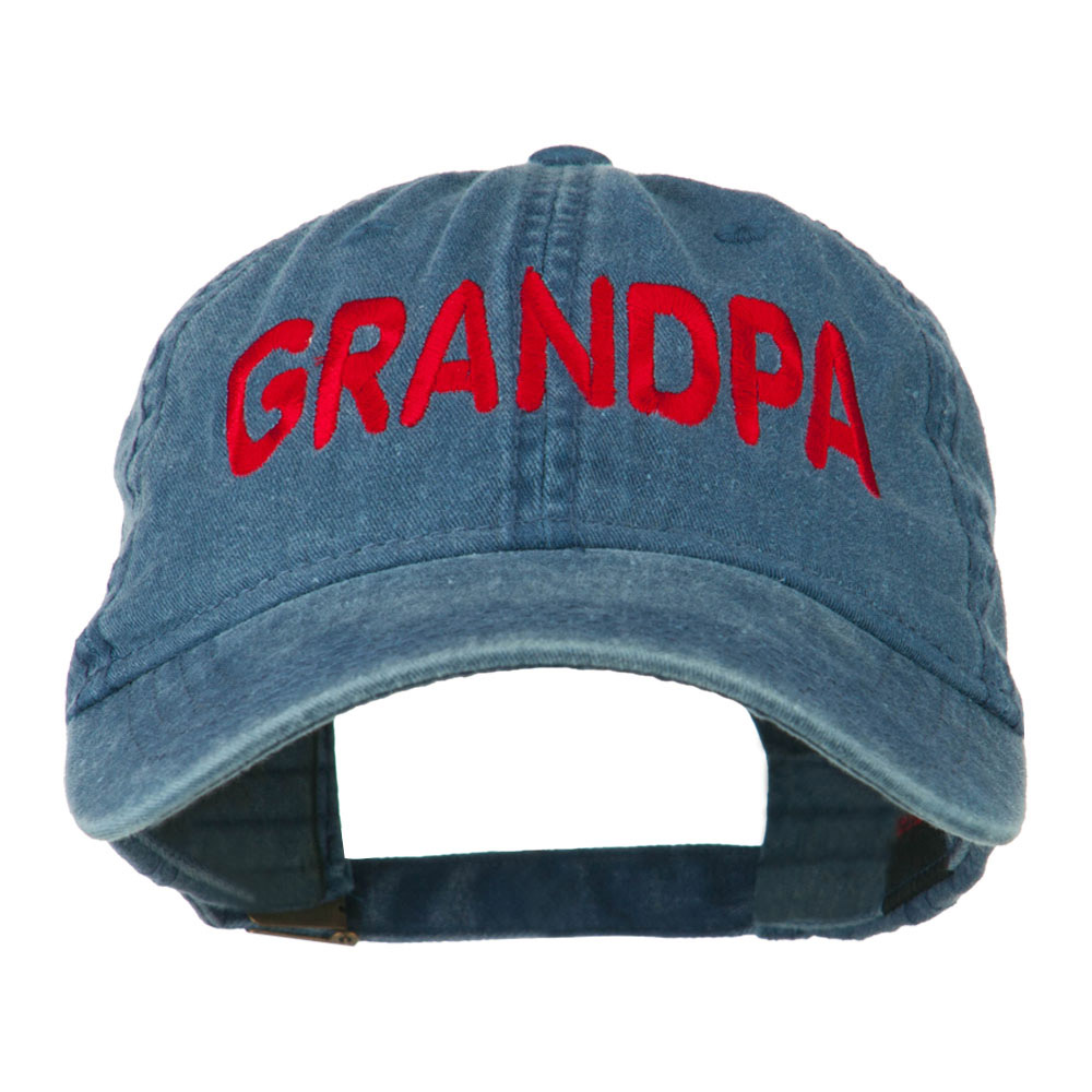 Wording of Grandpa Embroidered Washed Cap - Navy - Hats and Caps Online Shop - Hip Head Gear