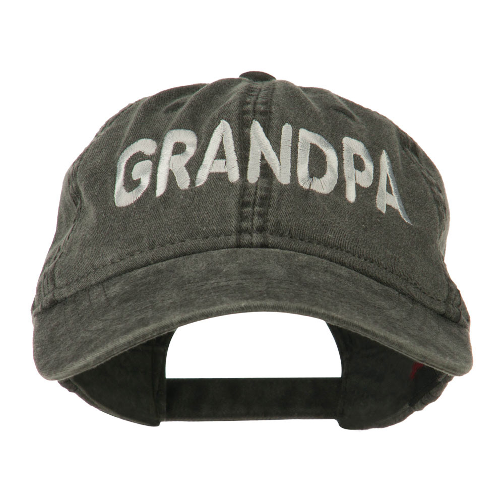 Wording of Grandpa Embroidered Washed Cap - Black - Hats and Caps Online Shop - Hip Head Gear