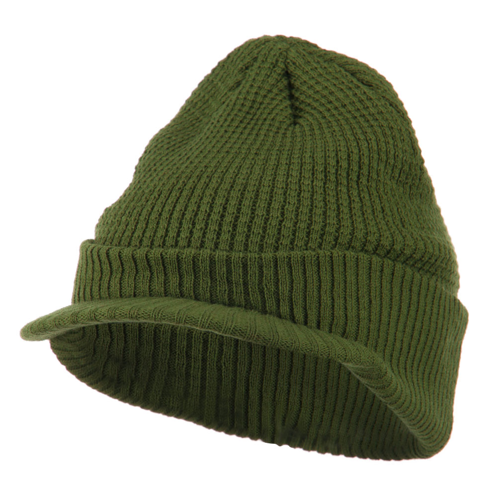 Grid Pattern Cuff Beanie with Visor - Olive - Hats and Caps Online Shop - Hip Head Gear