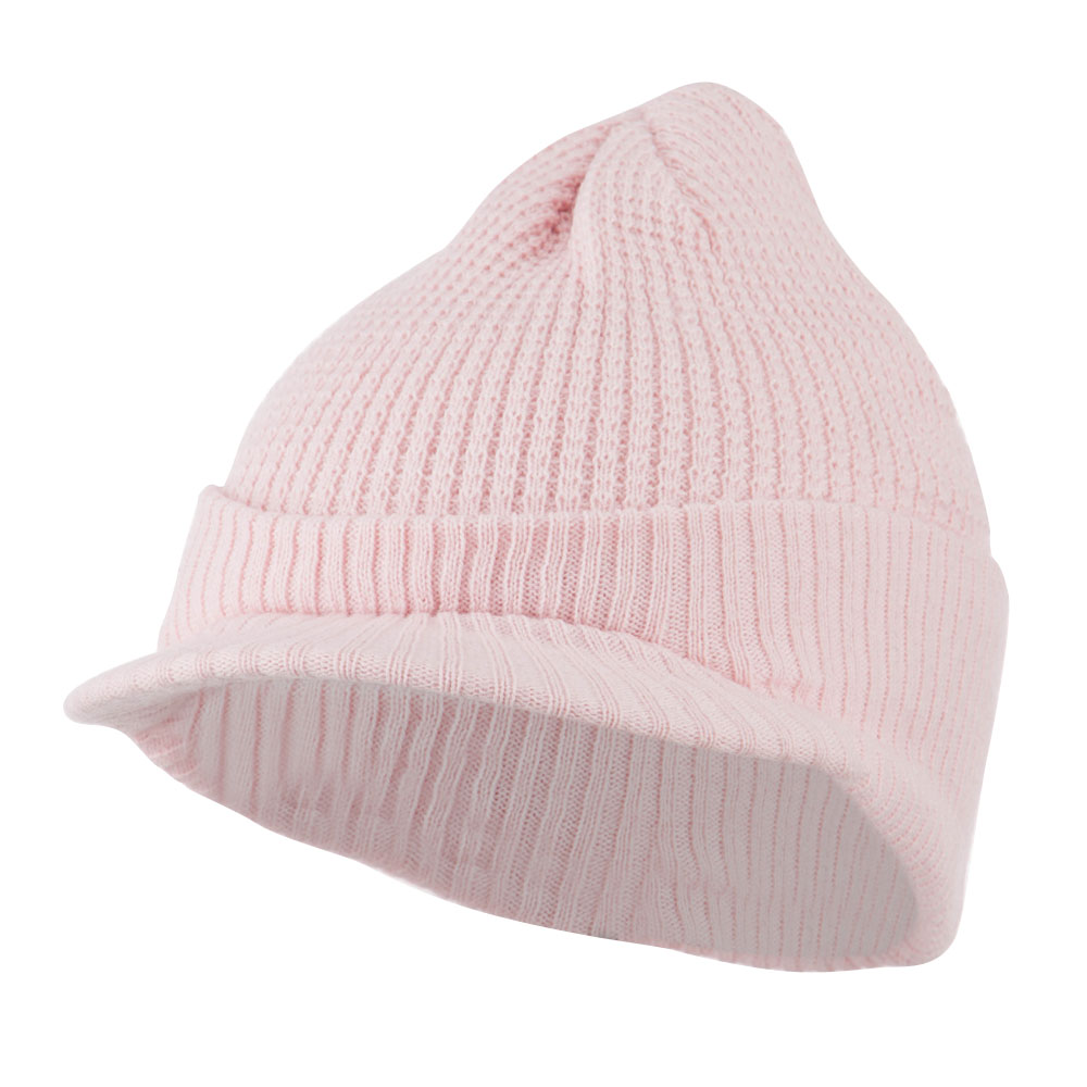 Grid Pattern Cuff Beanie with Visor - Pink - Hats and Caps Online Shop - Hip Head Gear