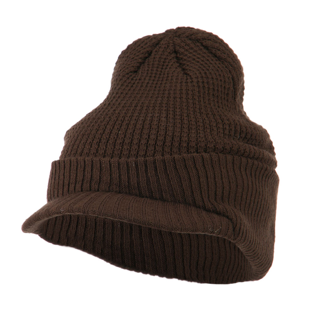 Grid Pattern Cuff Beanie with Visor - Brown - Hats and Caps Online Shop - Hip Head Gear