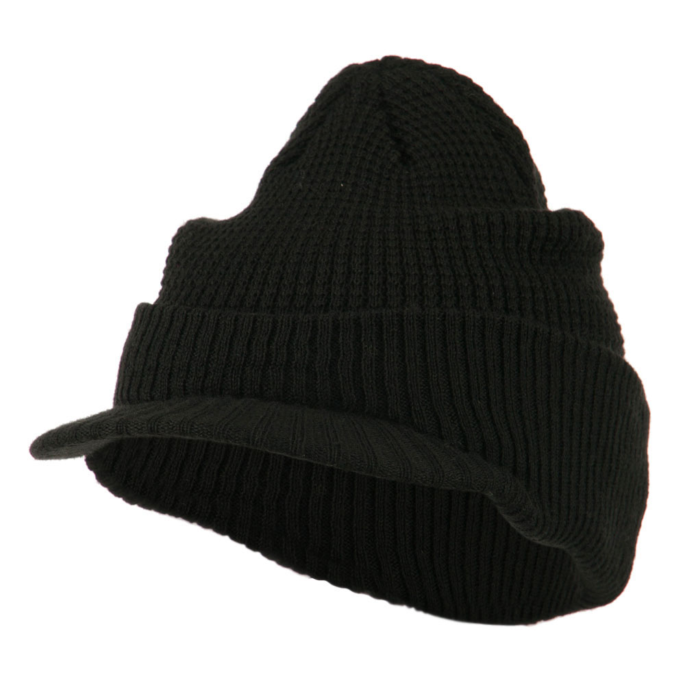 Grid Pattern Cuff Beanie with Visor - Black - Hats and Caps Online Shop - Hip Head Gear