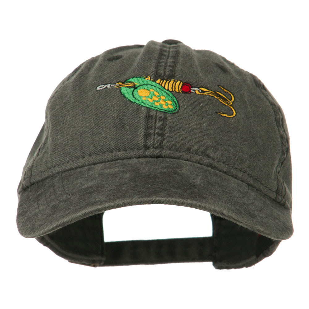 Fishing Green Spinner Embroidered Washed Cap - Black - Hats and Caps Online Shop - Hip Head Gear