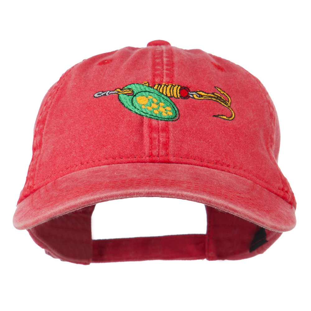 Fishing Green Spinner Embroidered Washed Cap - Red - Hats and Caps Online Shop - Hip Head Gear