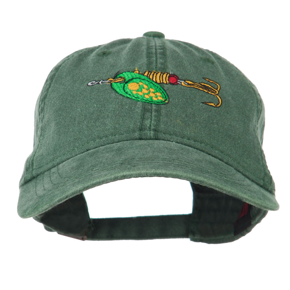 Fishing Green Spinner Embroidered Washed Cap - Dark Green - Hats and Caps Online Shop - Hip Head Gear