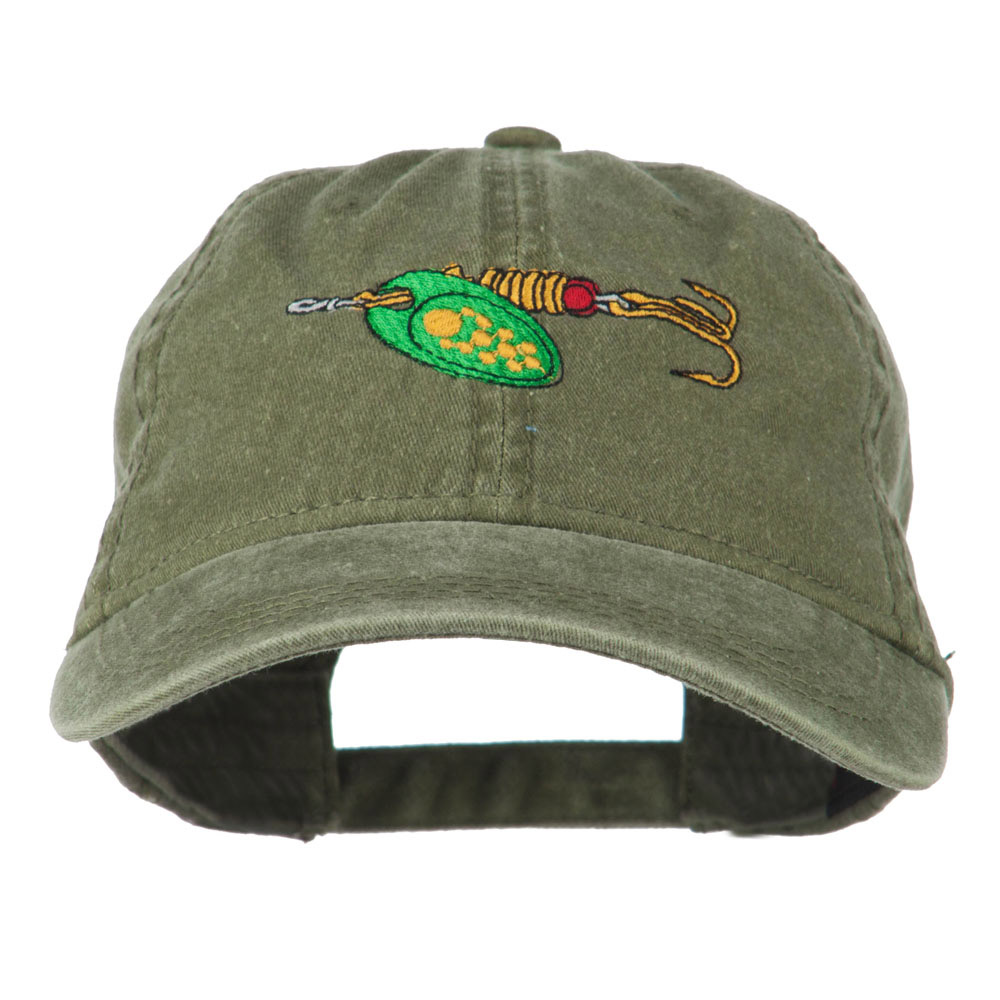 Fishing Green Spinner Embroidered Washed Cap - Olive Green - Hats and Caps Online Shop - Hip Head Gear