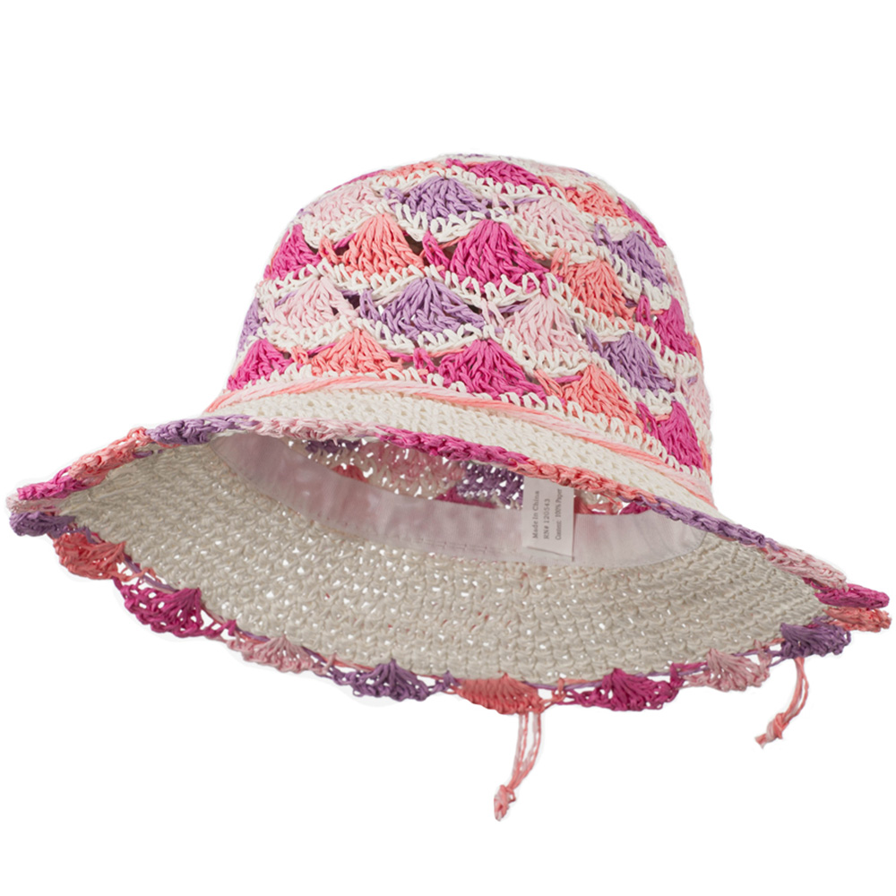 Girl's Scallop Designed Hat - White Pink - Hats and Caps Online Shop - Hip Head Gear