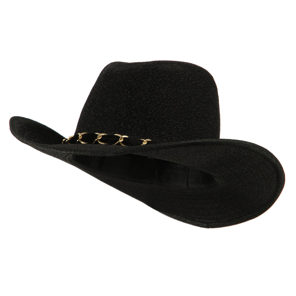 Glitter Cowboy Hat with Velvet Chain - Black - Hats and Caps Online Shop - Hip Head Gear