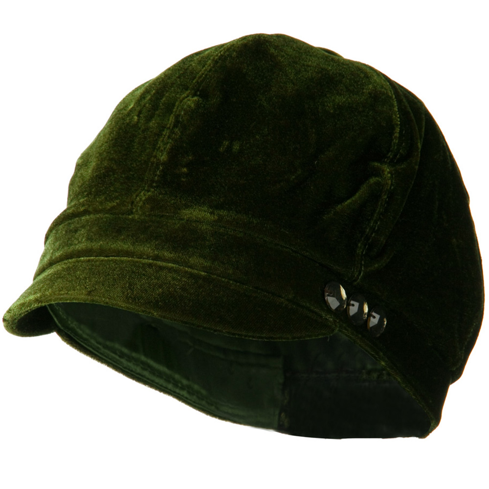 Gaby Velvet Newsboy Hat - Olive - Hats and Caps Online Shop - Hip Head Gear