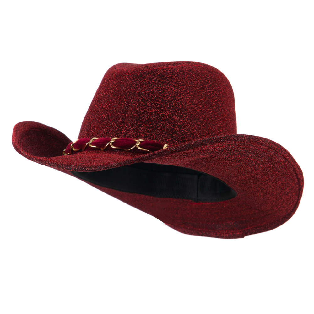 Glitter Cowboy Hat with Velvet Chain - Red - Hats and Caps Online Shop - Hip Head Gear