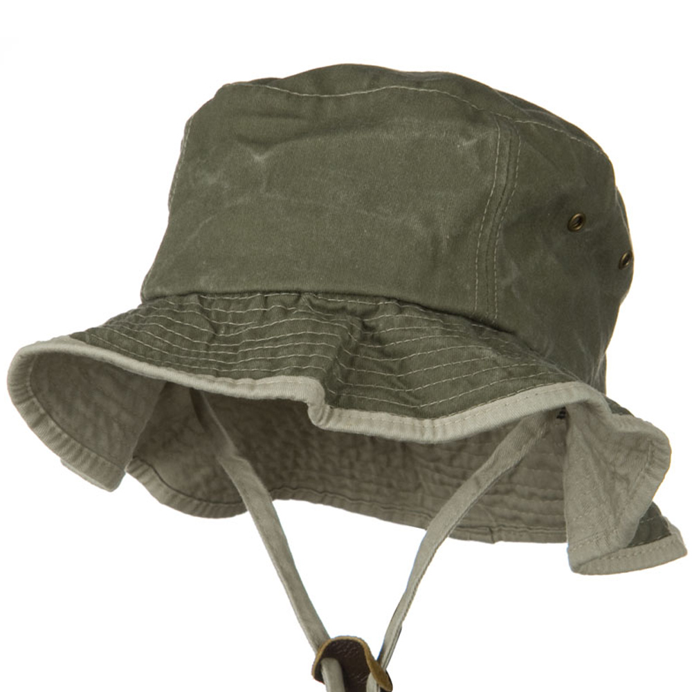 Garment Washed Cotton Hat with Chin Cord - Olive - Hats and Caps Online Shop - Hip Head Gear