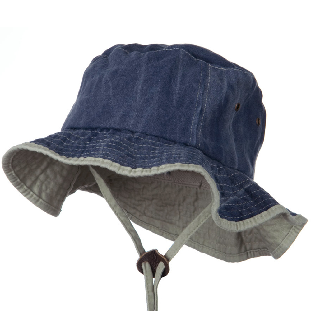 Garment Washed Cotton Hat with Chin Cord - Navy - Hats and Caps Online Shop - Hip Head Gear