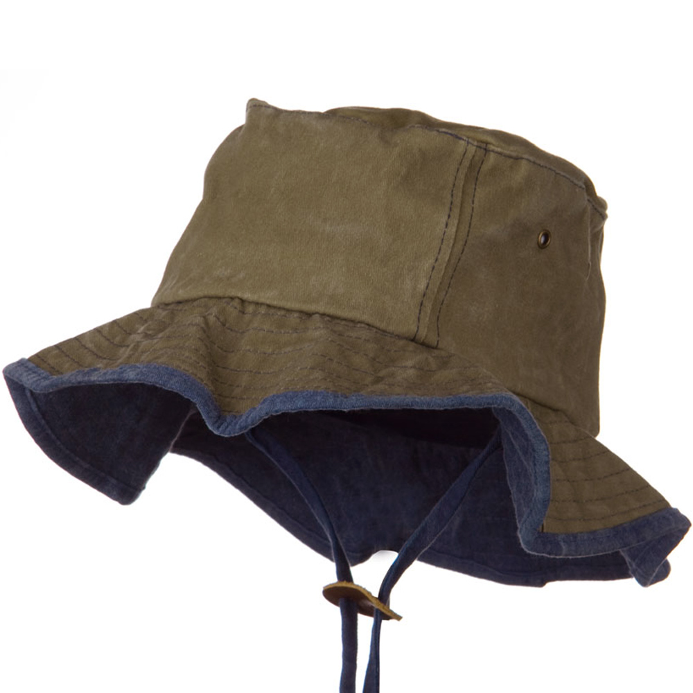 Garment Washed Cotton Hat with Chin Cord - Khaki - Hats and Caps Online Shop - Hip Head Gear