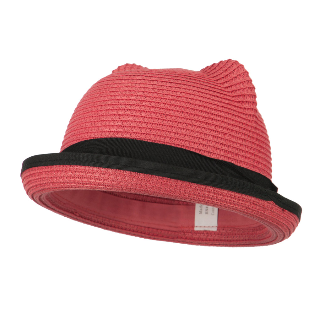 Girl's Youth Ear Crown Fedora - Coral - Hats and Caps Online Shop - Hip Head Gear