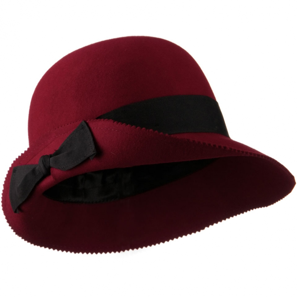 Cloche Wool Felt Grograin Ribbon Hat - Dark Red - Hats and Caps Online Shop - Hip Head Gear