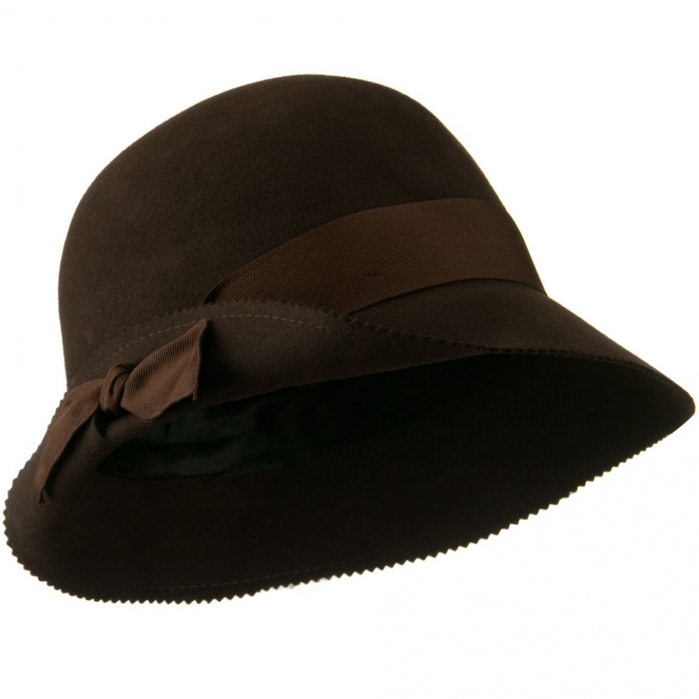 Cloche Wool Felt Grograin Ribbon Hat - Brown - Hats and Caps Online Shop - Hip Head Gear