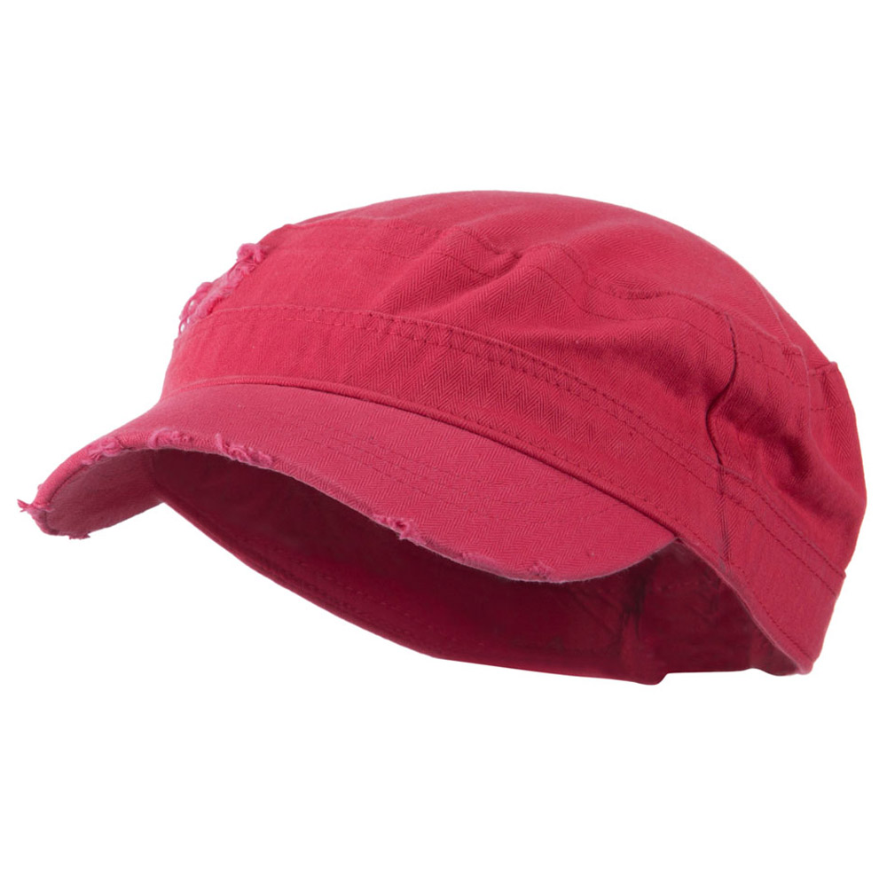 Cotton Herringbone Army Cap - Fuchsia - Hats and Caps Online Shop - Hip Head Gear